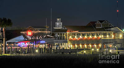 Photograph - Lowcountry Nightlife On Shem Creek by Dale Powell