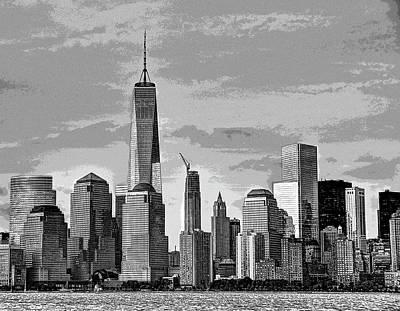 Photograph - Lower Manhattan Skyline - B And W by Allen Beatty