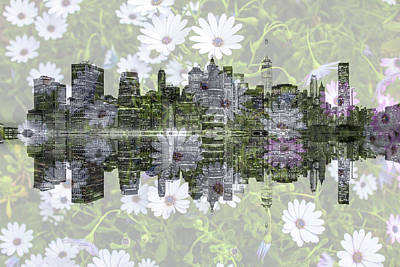 Royalty-Free and Rights-Managed Images - Lower Manhattan Skyline Floral by Az Jackson
