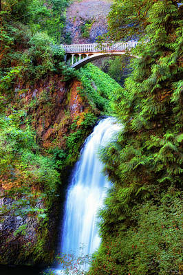 Photograph - Lower Multnomah Waterfall In The Columbia River Gorge by Dee Browning