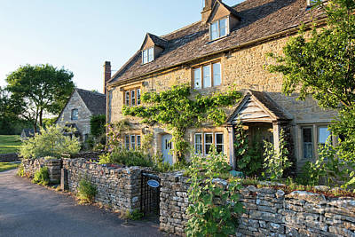Photograph - Lower Slaughter Cottages In The Evening Summer Sunlight by Tim Gainey