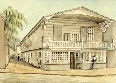 Drawing - Loxley's House, Philadelphia, 1828 by William Breton