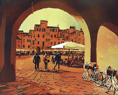 Painting - Lucca Center- Italy by Ryan Fox