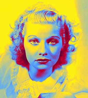 Comic Character Paintings - Lucille Ball 1940 Before the trademark red hair. Neon art by Ahmet Asar by Ahmet Asar