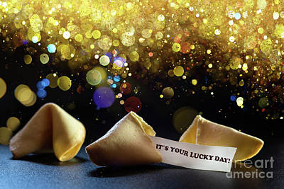 Photograph - Lucky Cookies Broken With Message Of Fortune, Isolated On Black Background With Empty Space For Text. by Joaquin Corbalan