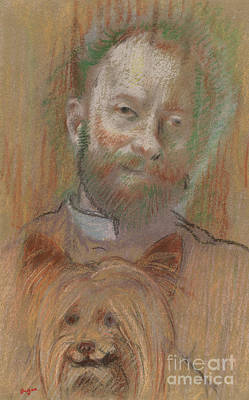 Pastel - Ludovic Lepic Holding His Dog, 1889 by Edgar Degas