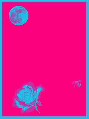 Royalty-Free and Rights-Managed Images - Luna, Bee and Flower Minimalist Poster v3a by Celestial Images