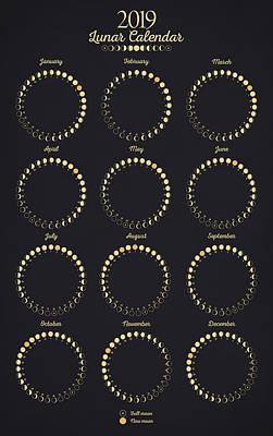 Digital Art - Lunar Calendar by Zapista Zapista