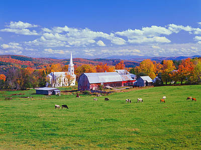 Vermont Photograph - Lush Autumn Countryside In Vermont With by Ron thomas