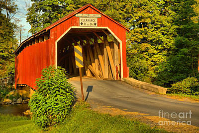 Photograph - Lush Landscape At The Enslow Covered Bridge by Adam Jewell