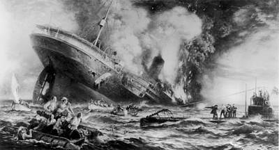 Lusitania Sunk Art Print by Three Lions