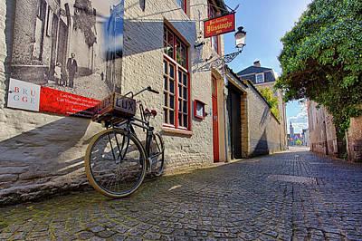 Lux Cobblestone Road Brugge Belgium Art Print