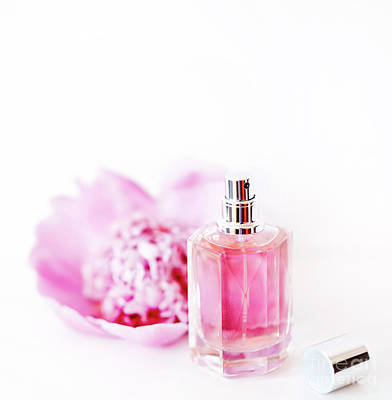 Photograph - Luxury Perfume Bottle And Pink Peony Flower Isolated On White Ba by Jelena Jovanovic