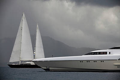 Recreational Boat Photograph - Luxury Yacht And Sailboats Before A by Laughingmango