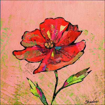 Starchips Poststamps - Lyrical Poppy I by Shadia Derbyshire