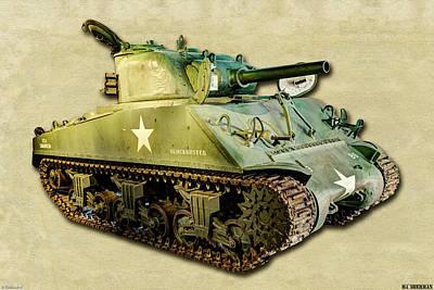 Photograph -  M4 Sherman Tank 2 Canvas by Weston Westmoreland