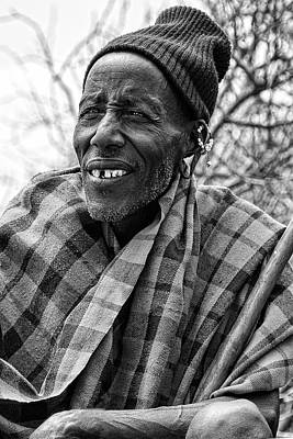Photograph - Maasai Chieftain In Black And White by Kay Brewer