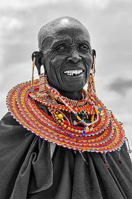Photograph - Maasai Woman In Selective Color by Kay Brewer