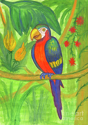 Painting - Macaw Parrot In The Wild by Dobrotsvet Art