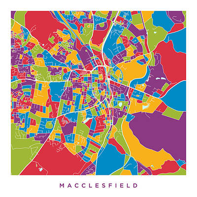 Digital Art - Macclesfield City Map by Michael Tompsett