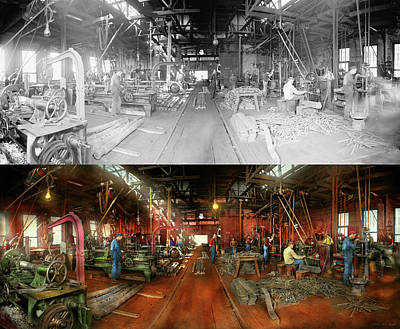 Photograph - Machinist - Pumping Out Parts 1905 - Side By Side by Mike Savad