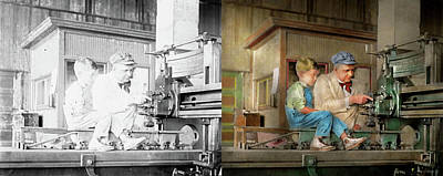 Photograph - Machinist - Spending Time With Grandpa 1921 - Side By Side by Mike Savad