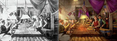 Photograph - Machinist - War - Meanwhile In The Bomb Factory 1912 - Side By Side by Mike Savad