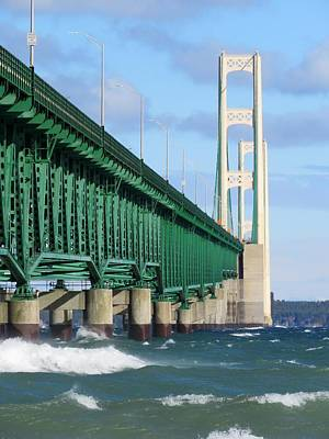 Mackinac Bridge And Waves Art Print