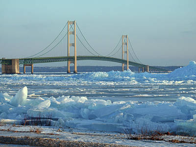 Photograph - Mackinac Bridge In Ice 2161801 by Rick Veldman