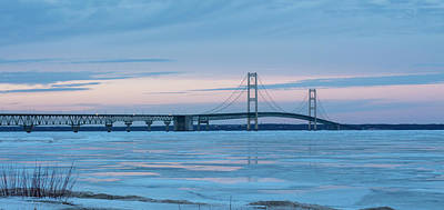 Photograph - Mackinac Bridge In Ice 2161803 by Rick Veldman