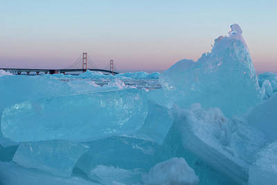 Photograph - Mackinac Bridge In Ice 2161805 by Rick Veldman