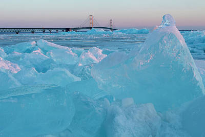 Photograph - Mackinac Bridge In Ice 2161806 by Rick Veldman