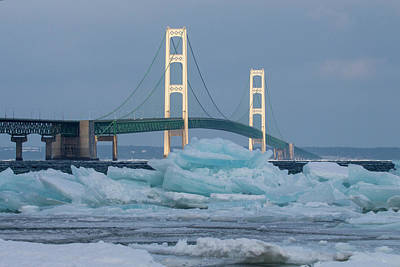 Photograph - Mackinac Bridge In Ice 2161809 by Rick Veldman
