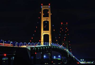 Photograph - Mackinac Bridge Lit Up by Dan Sproul
