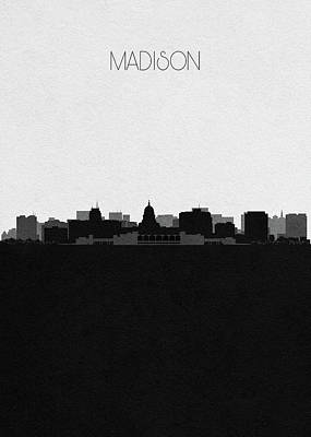 Skyline Drawing - Madison Cityscape Art by Inspirowl Design