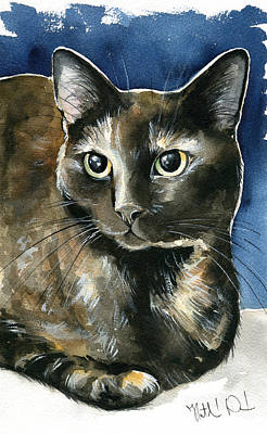 Painting - Madison Tortoiseshell Cat Painting by Dora Hathazi Mendes