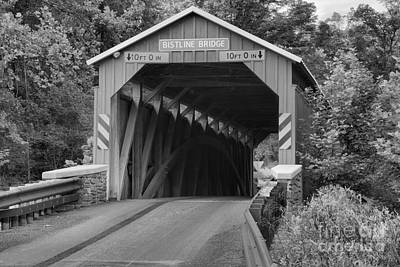 Photograph - Madison Township Bistline Covered Bridge Black And White by Adam Jewell