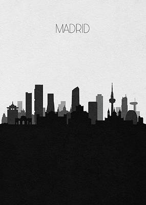 Digital Art - Madrid Cityscape Art by Inspirowl Design