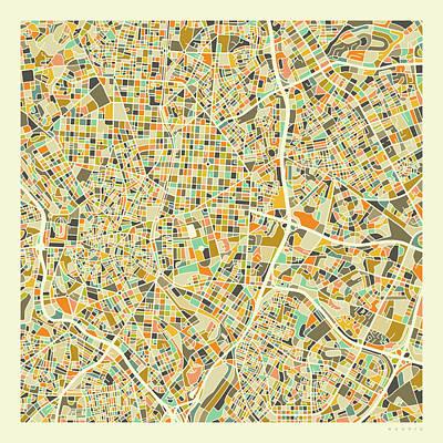 Spain Wall Art - Digital Art - Madrid Map 1 by Jazzberry Blue