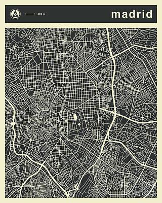 Spain Wall Art - Digital Art - Madrid Map 3 by Jazzberry Blue