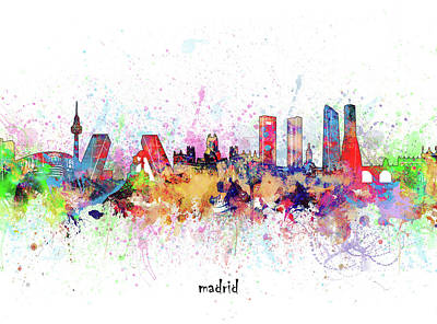 Abstract Skyline Royalty-Free and Rights-Managed Images - Madrid Skyline Artistic by Bekim M
