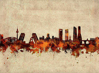Abstract Skyline Royalty-Free and Rights-Managed Images - Madrid Skyline Sepia by Bekim M