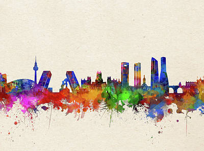 Abstract Skyline Royalty-Free and Rights-Managed Images - Madrid Skyline Watercolor by Bekim M