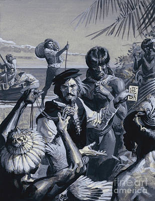Painting - Magellan Trading With The Indians by Severino Baraldi