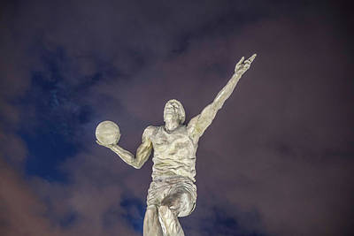 Athletes Royalty-Free and Rights-Managed Images - Magic Johnson Statue at Blue Hour  by John McGraw