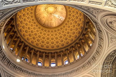 Photograph - Magnificent Detail Dome San Francisco City Hall Color  by Chuck Kuhn