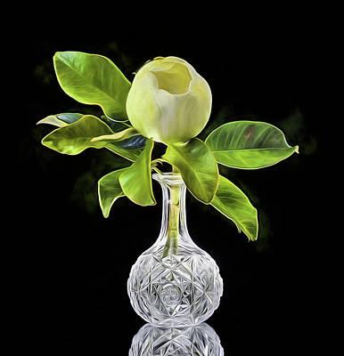 Digital Art - Magnolia Bloom And Crystal Still Life by JC Findley