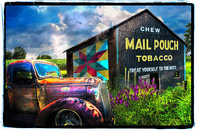 Photograph - Mail Pouch Tobacco Barn And Vintage Chevy Truck Framed by Debra and Dave Vanderlaan