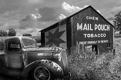 Photograph - Mail Pouch Tobacco Barn And Vintage Chevy Truck In Black And Whi by Debra and Dave Vanderlaan