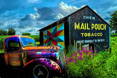 Photograph - Mail Pouch Tobacco Barn And Vintage Chevy Truck In Hdr Detail by Debra and Dave Vanderlaan